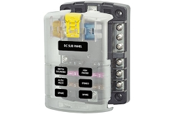 Blue Sea System Fuse Block - 6 Circuits with Negative Bus and Cover