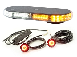Strobes N' More Millennium Mini Lightbar and Hide-Away Amber Package